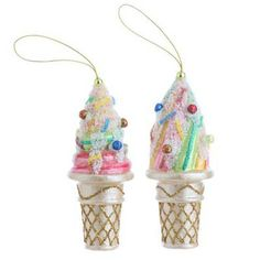 RAZ Ice Cream Cone Christmas Ornament from the Candy Wonderland Collection - see more at www.trendytree.com