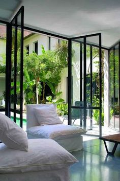 chair, the doors, glass doors, living rooms, white, patio, hous, black windows, courtyard