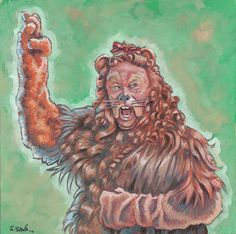 The Cowardly Lion from The Wizard of Oz Done on 6x6 inch Aquabord with Winsor & Newton Gouache Paints