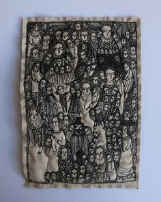 so many stories (2013)  free motion machine embroidery on linen completed during Oct-Nov 2013 -  © Cathy Cullis.