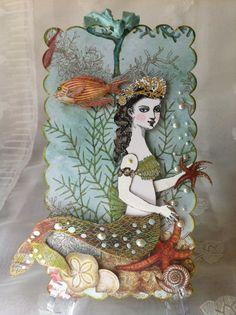 Mermaid Paper  Doll Articulated Art Tag 3D Corset by ParisPluie, $17.00