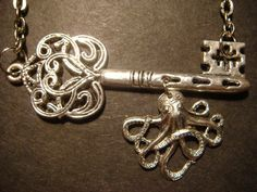 Steampunk Octopus Hanging from Key Necklace - Antiqued Silver