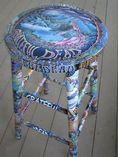 Grateful Dead Stool, this is some cool artwork