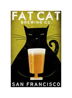 Love this print! Fat Cat Brewing Co by NATIVE VERMONT STUDIO via Esty