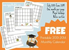 FREE Printable Calendar for the 2013-2014 School Year