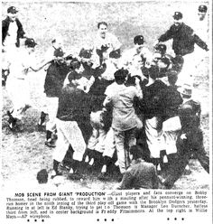 """Photo of the New York Giants celebrating after Bobby Thomson's home run won the 1951 National League pennant, published in the Advocate newspaper (Baton Rouge, Louisiana), 4 October 1951. Source: Wikimedia Commons. Read more on the GenealogyBank blog: """"Baseball History: Thomson's """"Shot Heard 'Round the World."""" http://blog.genealogybank.com/baseball-history-thomsons-shot-heard-round-the-world.html"""