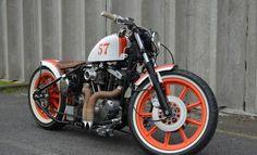 car, harley davidson, harleydavidson ironhead, motorcycl, orang, wheel, colors, badass bike, bobber