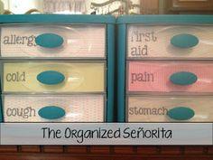 organize medicine, plastic drawer, organ medicin, pretti label, medicine cabinets, medicine cabinet organization, medicin cabinet, organized medicine cabinet, diy medicine organization