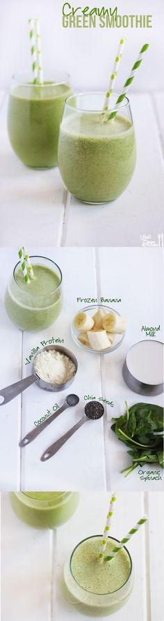 Creamy Green Protein Smoothie! Healthy, gluten-free, dairy-free, and paleo-friendly!