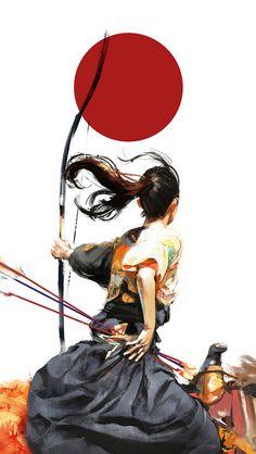 art illustrations, japan, ninja, archeri, samurai, the artist, martial art, bow, asian art