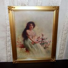 Art Nouveau Lady with Flowers - Titled Poppies - Ornate Frame