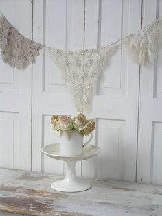 Lace doilies as bunting pastels, booth displays, vintage lace, white, buntings, doilies, happy weekend, garland, banners