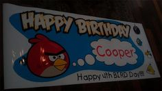 Cute personalized Angry Birds Birthday (BIRD-day) Party Banner by www.bannergrams.com