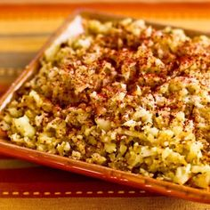 "Recipe for ""Cauliflower Rice"" with Fried Onions and Sumac  From Kalyn's Kitchen  #LowGlycemicRecipes  #SouthBeachDietRecipes"