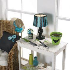 decor garden, ribbontrim lampshad, craft, lamp shade, ribbon trim, decorating ideas, diy idea, decor sunglass, garden tool