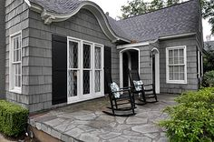 Stone patio, gray shingle