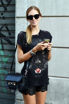 summer styles, animals, fashion, shirts, black cats, black panthers, street styles, leather, lace shorts