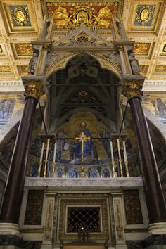 The High Altar of Saint Paul Outside the Walls. Inside the grate are the relics of Saint Paul.