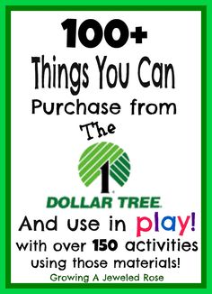 100 Things You Can Purchase from the Dollar Tree and Use in Play with over 150 activities using those materials!
