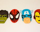 SUPER HERO AVENGERS  -  Fondant Cupcake, and Cookie Toppers - 1 Dozen. via Etsy.