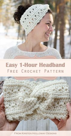 Crochet this easy headband in just 1 hour! This free crochet headband pattern fits women and teens. It uses easy crochet stitches, and has a step-by-step picture tutorial for making the x-twist. #kirstenhollowaydesigns #freecrochetpatterns #crochetheadbandpatterns