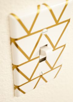 Geometric Switch Plate Cover Tutorial — an easy way to add a little glam to your room. lights, decor, diy switch plates, diy crafts, geometr switch, diy switch cover, room diy, light switches, plate cover