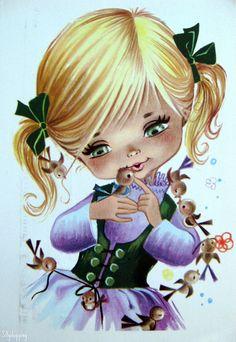 Adorable Big Eye Girl - Gallarda Illustration