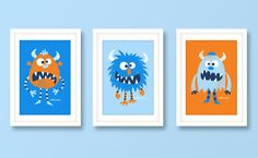 Nursery art boy boys monster print set monster by BubbleGumYears, £23.99