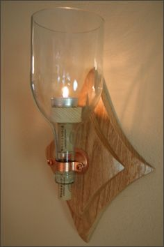 Repurposed Wine Bottle Candle Wall Sconce