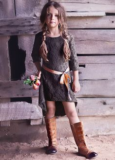 Joyfolie brown lace dress cowboy style with brown boots tween fashion