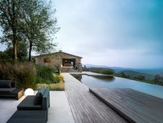 infinity pool at a Catalan farmhouse in Girona, Spain.