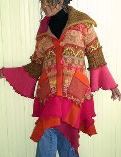 Pink and Orange Sweater Coat by brendaabdullah, via Flickr