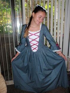 1770s  Historical Colonial Gown Dress and by alohagirldollclothes