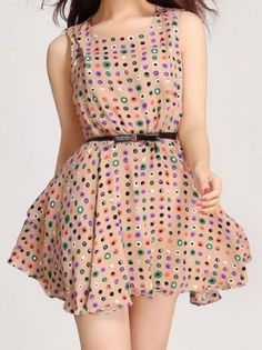Fun Little Khaki Polka Dot Skater Dress