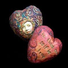 beautiful polymer clay  heart pendants--I want them...