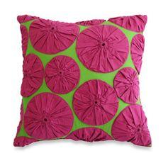 Nostalgia Home Fashions™ Yoyo Applique Square Toss Pillow - Bed Bath & Beyond