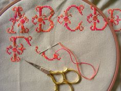 coral orangey pink cross stitch alphabet sampler, the green dragonfly