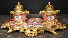 19th Century French Louis XV St. Sevres Porcelain And Ormolu Mounted Inkwell
