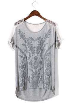 Daisy Embossed Lace Back T-shirt