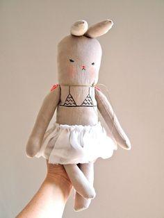 Linen bunny rabbit doll soft toy