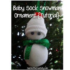 Just A Little Creativity: Baby Sock Snowman Ornament {Tutorial}
