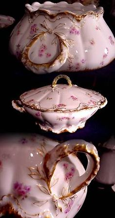 1800s HAVILAND LIMOGES TUREEN WREATH HANDLES ROSES SHELL DESIGN DOUBLE GOLD