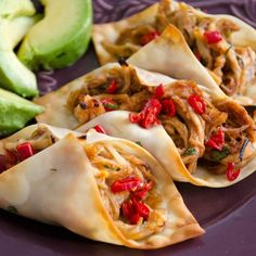 food & drink - wonton wrappers to make crispy baked chicken tacos - Healthy Food: Healthy Food  #tacos