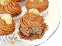 banana bread cupcakes with peanut butter frosting