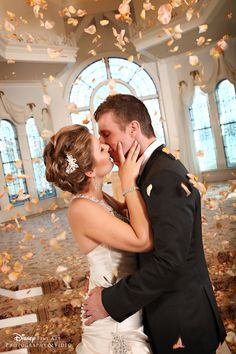 A beautiful moment in Disney's Wedding Pavilion #Disney #wedding #kiss #WeddingPavilion