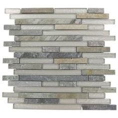 Splashback Glass Tile Tectonic Harmony Green Quartz Slate And White 12 in. x 12 in. Glass Mosaic Floor and Wall Tile