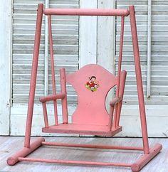 Vintage Pink Wood Doll Chair Swing