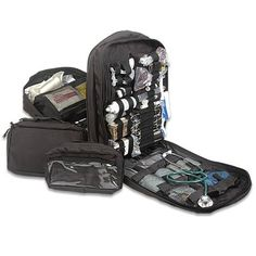 STOMP Portable Hospital Black Backpack Military Medical Kit Extensive and Intensive Medic Care