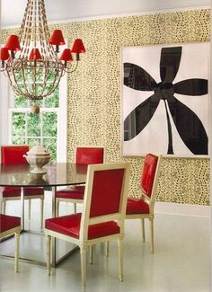 Miles Redd - dining room red, tan and black