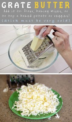 Need softened butter but it's frozen. Just grate it and then add to recipes etc!  What a great idea